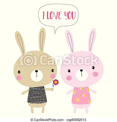 Cute Cartoon Bunnies Happy Easter Bunnies Isolated On White Cute Cartoon Rabbits With Flower And Lettering I Love You For Canstock