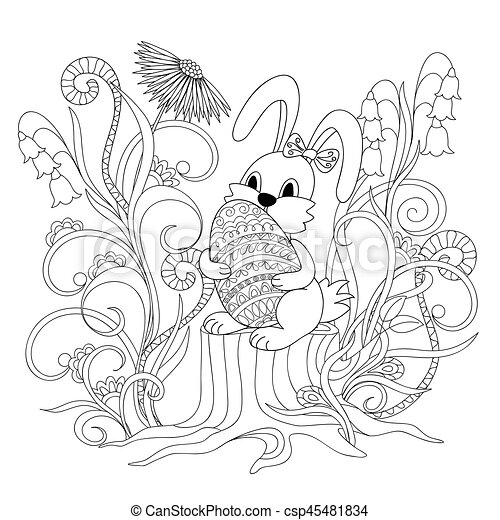 cute cartoon bunny sitting on the stump with ornamental egg - csp45481834