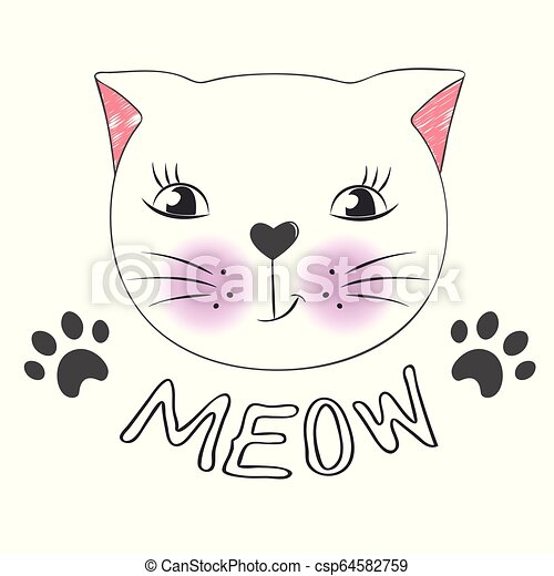 Cute Cartoon Cat Face And Inscription Meow Greeting Card With