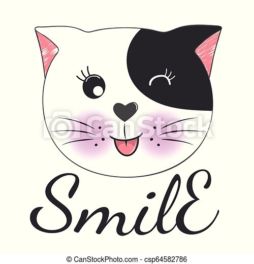 Cute Cartoon Cat Face And Inscription Smile Greeting Card With