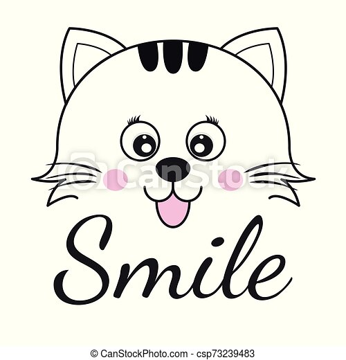 Cute Cartoon Cat Face And Inscription Smile Greeting Card With Charming Kitty Isolated On A White Background Graphics For T
