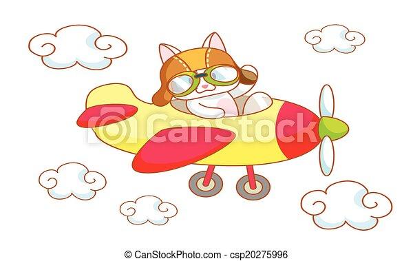 cute cartoon cat on a plane - csp20275996