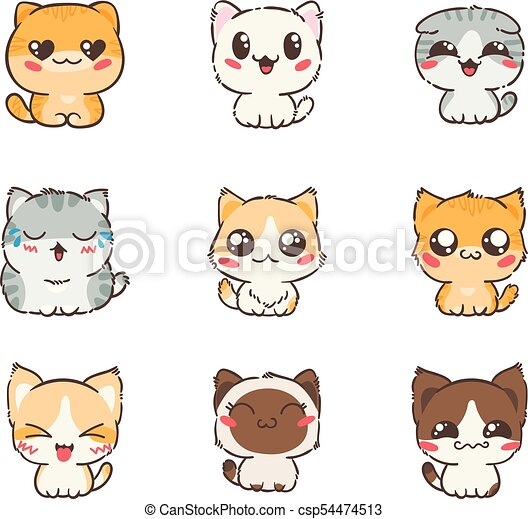 cute cartoon cats and dogs with different emotions sticker