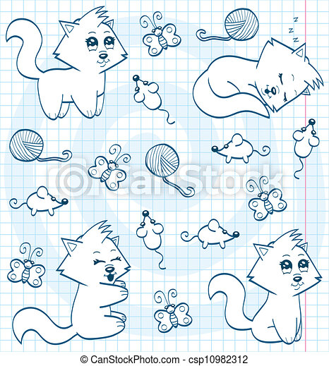 Cute cartoon cats (coloring book) - csp10982312