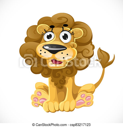 Cute cartoon character lion isolated on white background - csp83217123