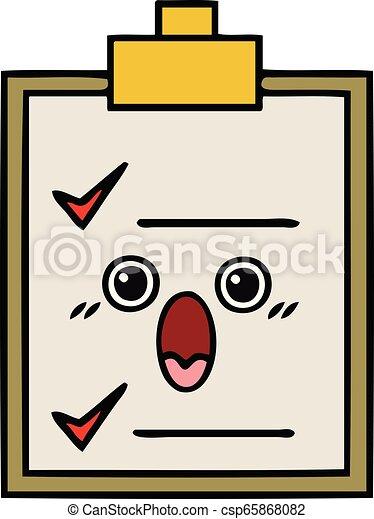 Cute Cartoon Check List Cute Cartoon Of A Check List Canstock
