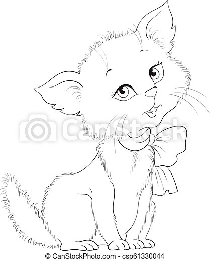 Cute Cartoon Cheerful Kitten Coloring Page Adorable Little Cat Very Hice Animal Character Vector Cartoon Children Coloring Canstock