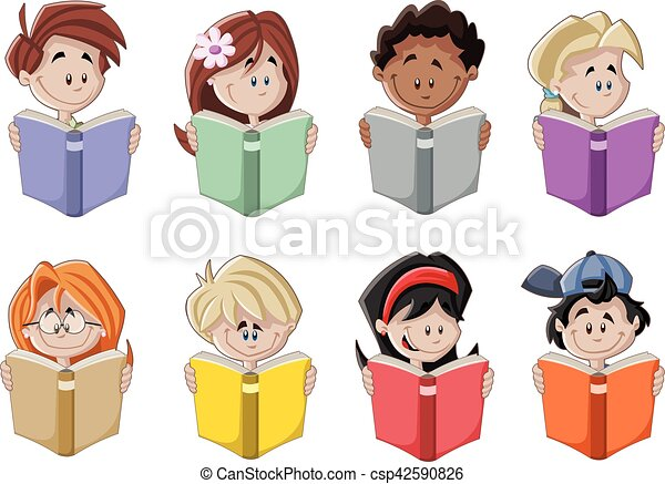 Cute Cartoon Children Reading Books Students