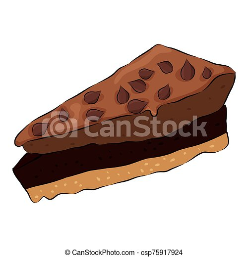 Cute cartoon chocolate cake Isolated on the white background. Flat style. Vector illustration - csp75917924