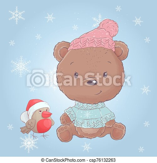 Cute cartoon christmas bear with bullfinch. Vector illustration - csp76132263