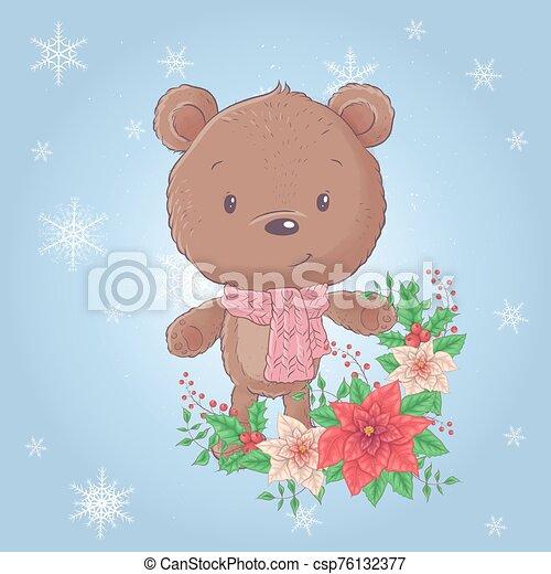 Cute cartoon christmas bear with poinsettia. Vector illustration - csp76132377