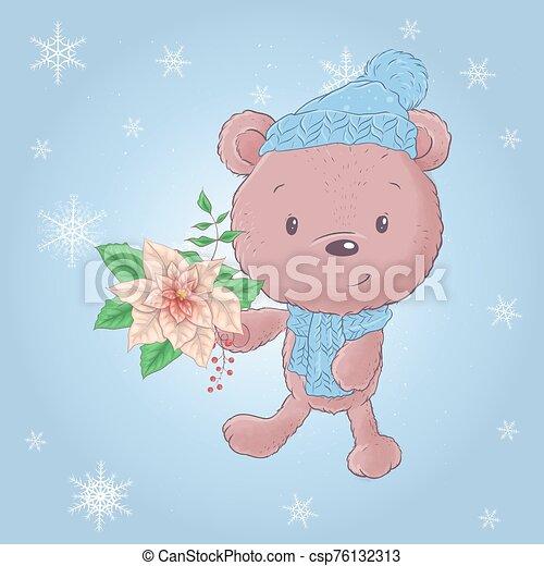 Cute cartoon christmas bear with poinsettia. Vector illustration - csp76132313