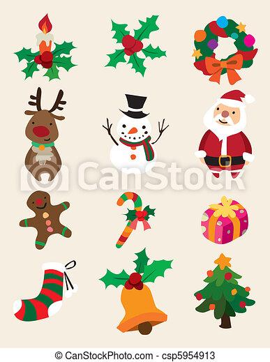 Cute Christmas Drawings.Cute Cartoon Christmas Element
