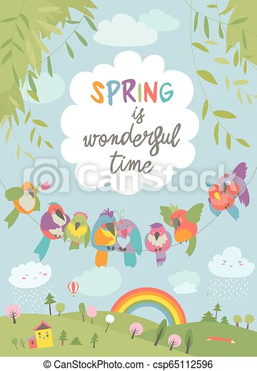 Cute cartoon colorful birds and spring landscape - csp65112596