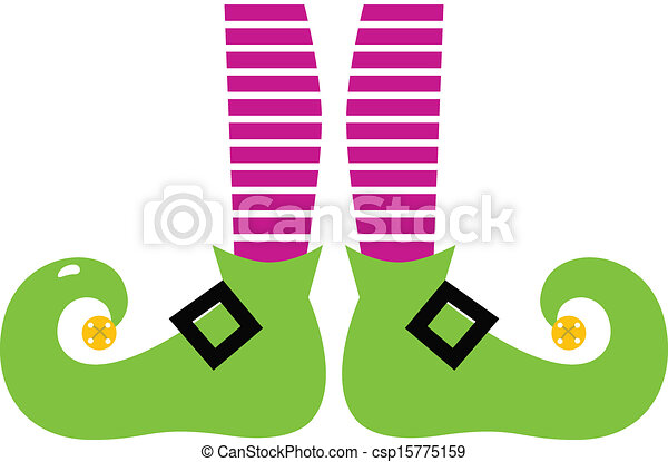 Cute cartoon colorful Elf legs isolated on white - csp15775159