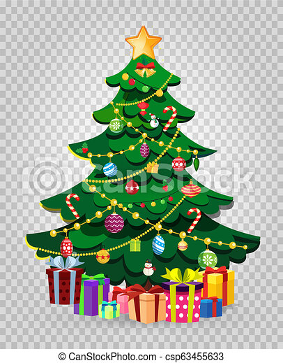 cute cartoon decorated christmas fir tree with gifts and presents cute cartoon decorated christmas fir tree with many gifts https www canstockphoto com cute cartoon decorated christmas fir 63455633 html
