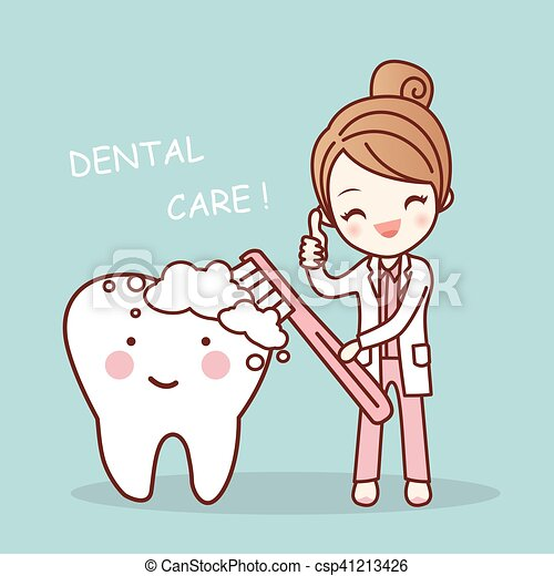 Cute Cartoon Dentist Brush Tooth Cute Cartoon Dentist Doctor Brush Tooth Great For Health Dental Care Concept