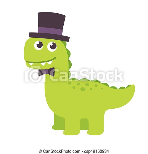Baby Cute Cartoon Dinosaur Csp49168934 Can Stock Photo Cute Cartoon Dinosaur Funny Cartoon Gentleman Dinosaur With Top Hat