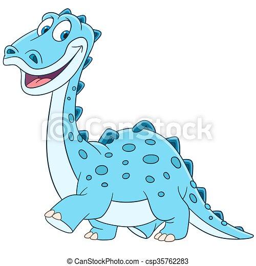 cute cartoon diplodocus - csp35762283