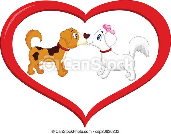 Cute cartoon dog kissing each other - csp20836232