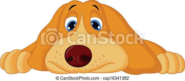 Cute cartoon dog lying down  - csp16341382