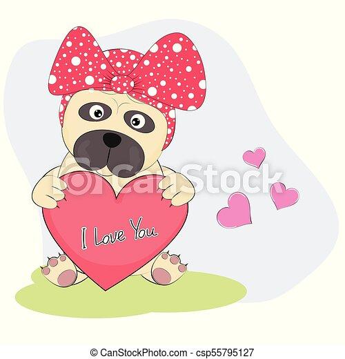 Cute Cartoon Dog pug with heart  an inscription - I Love You. - csp55795127