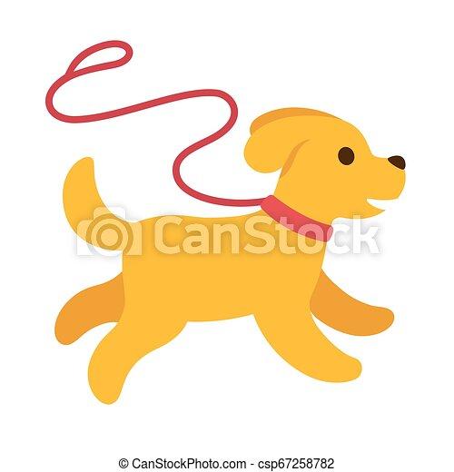 Cute Cartoon Dog Running With Leash Cute Cartoon Puppy Running Away