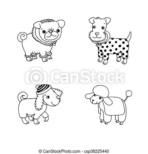 cute cartoon dogs in winter clothes pug terrier poodle setter