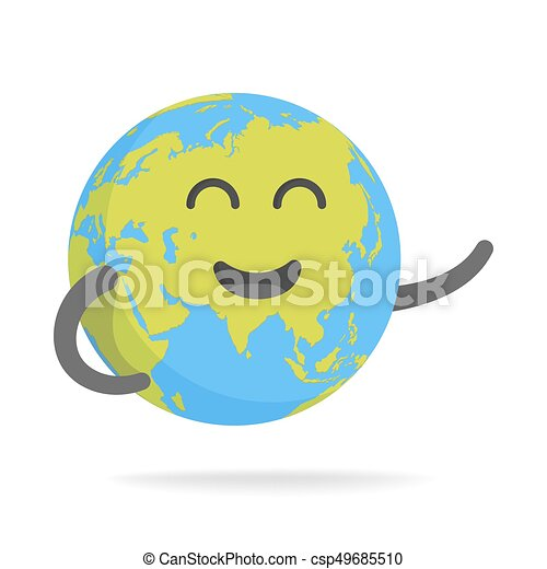 cute cartoon earth character world map globe with smiley face and hands vector illustration