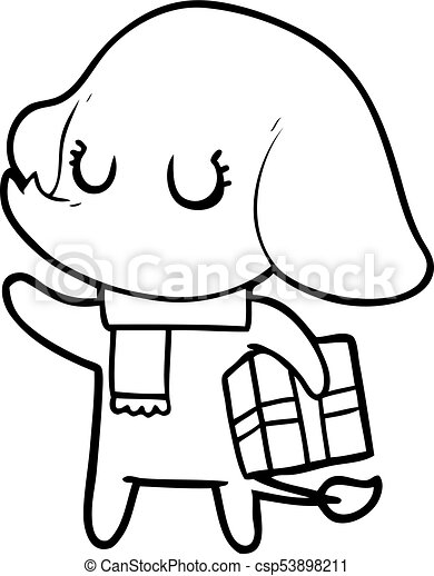 cute cartoon elephant with gift vector clip art search rh canstockphoto com
