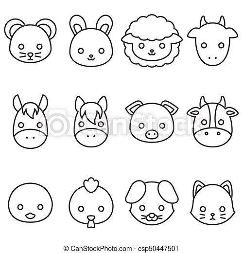 Cute cartoon farm animal line icon set, face of rat ...