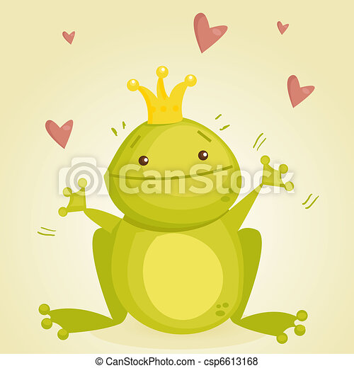 Cute cartoon frog prince - csp6613168