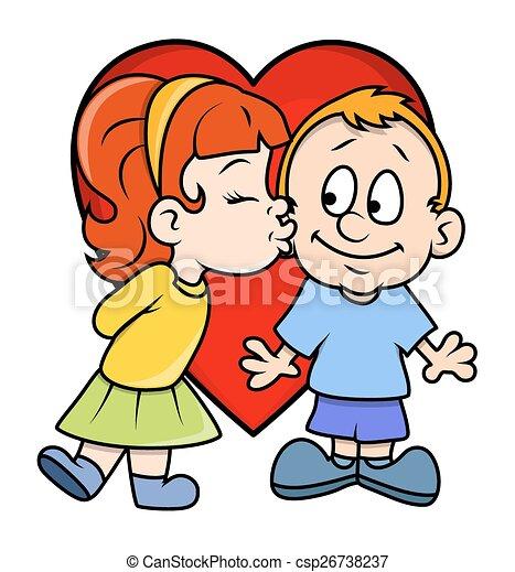 cute cartoon girl kissing a boy cartoon cute small girl character rh canstockphoto com Cartoon Characters Kissing Superman Kissing People in Cartoons
