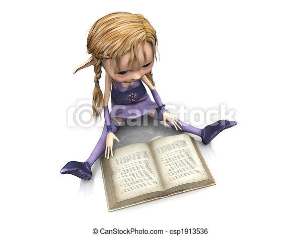 Cute cartoon girl reading book. - csp1913536