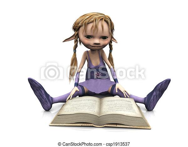 Cute cartoon girl reading book. - csp1913537