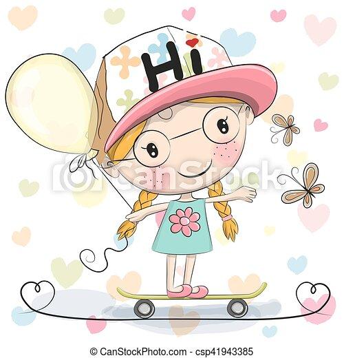 Cute Cartoon Girl with balloon - csp41943385