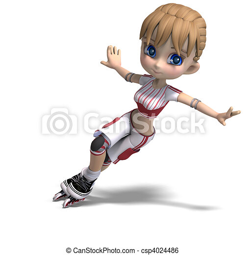 cute cartoon girl with inline skates. 3D rendering and shadow over white - csp4024486