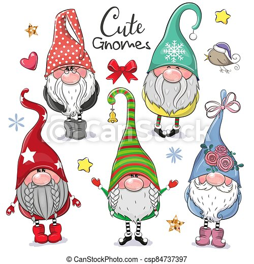 Cute Cartoon Gnomes isolated on a white background - csp84737397