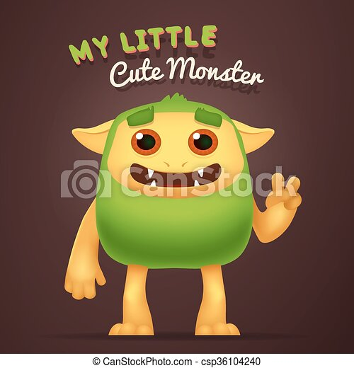 Cute Cartoon Green alien character with My little cute monster typography. Fun Fluffy incredible yeti creature isolated on brown background. - csp36104240