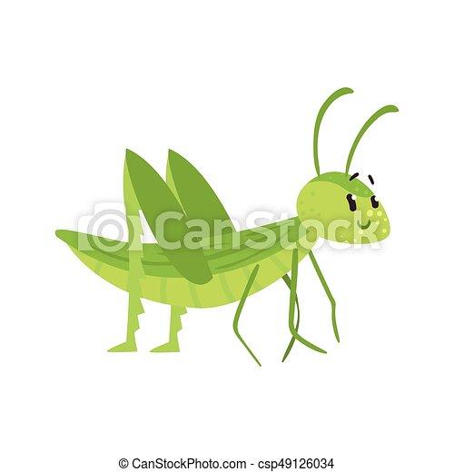 Cute cartoon green grasshopper character vector Illustration - csp49126034