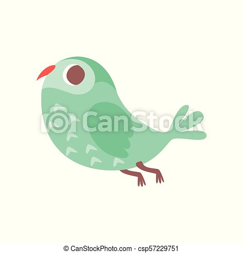 Cute cartoon green owlet bird character flying vector Illustration on a white background - csp57229751