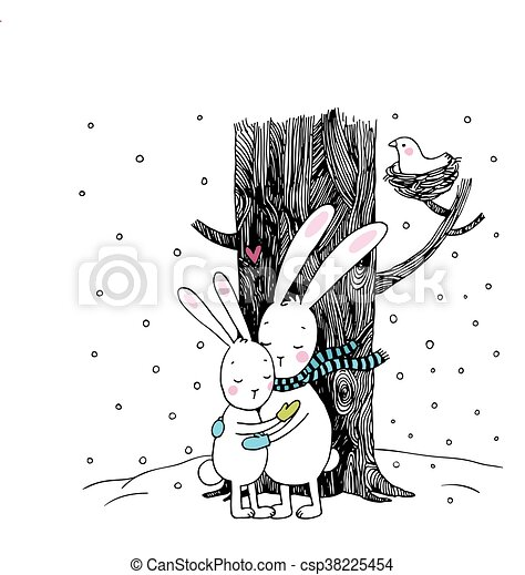 cute cartoon hares winter hand drawing isolated objects on white