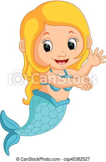 cute, cartoon, havfrue - csp45382527