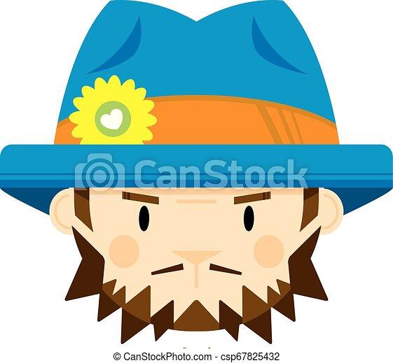 Cute Cartoon Hippie in Hat - csp67825432