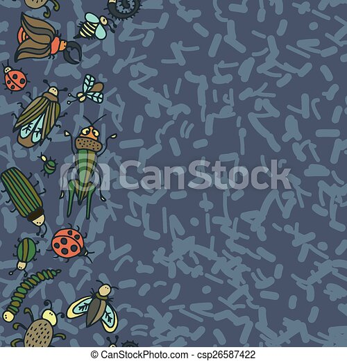 Cute cartoon insect pattern - csp26587422