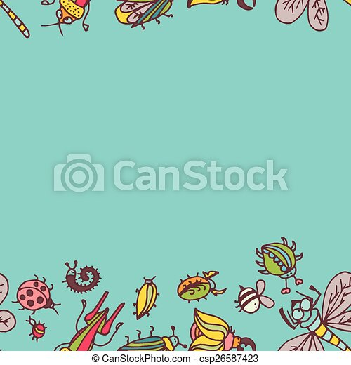 Cute cartoon insect pattern - csp26587423