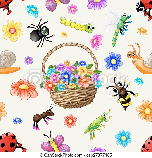 Cute cartoon insects pattern - csp27377465
