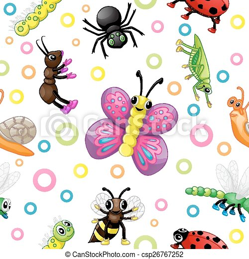 Cute cartoon insects pattern - csp26767252