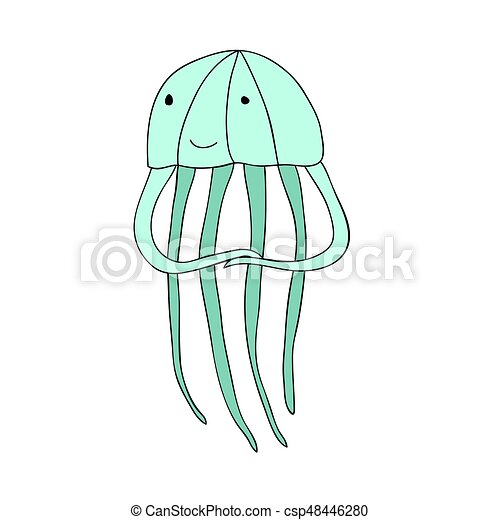 Cute Cartoon Jellyfish Character Vector Isolated Illustration In