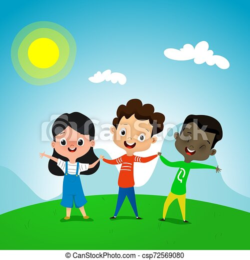 Cute Cartoon Kids Holding Hands On Summer Background Three Best Friends Concept Vector Of Friendship Interracial Equality